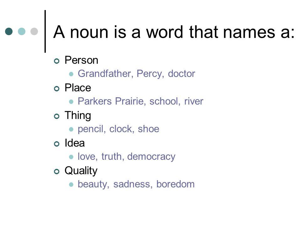A noun is a word that names a: