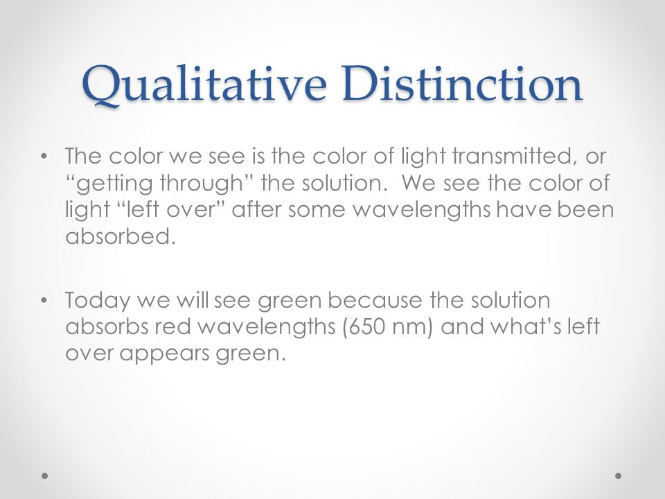 Qualitative Distinction