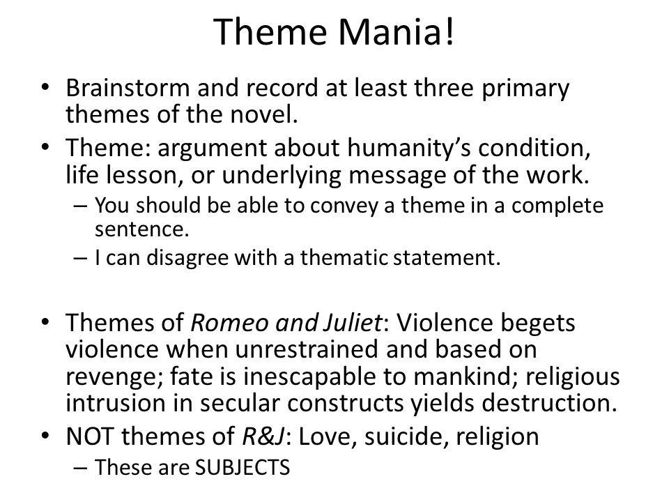 Theme Mania! Brainstorm and record at least three primary themes of the novel.
