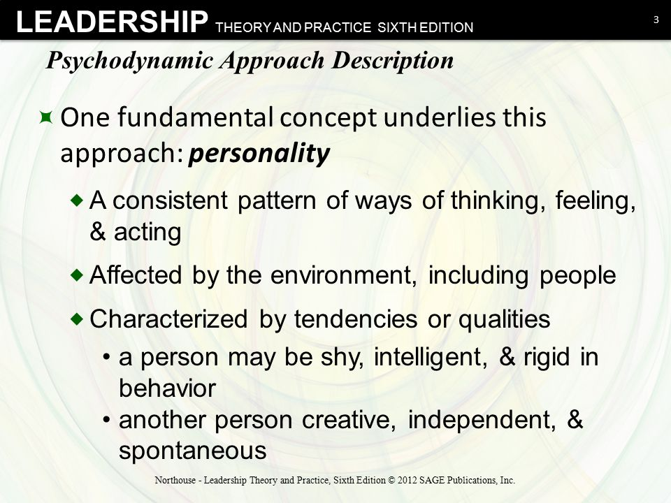 psychodynamic approach to leadership northouse According to stech (2006), the basic ideas of the psychodynamic leadership approach can be summarized as follows people gain their initial experiences with leadership from the day they are born.
