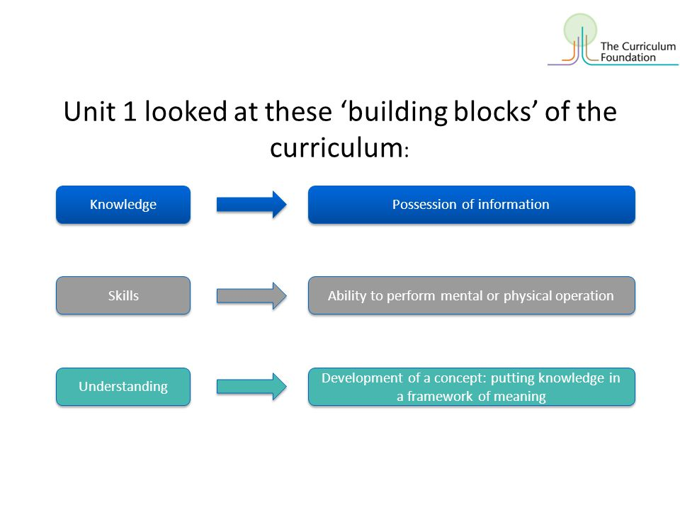 Unit 1 looked at these 'building blocks' of the curriculum: