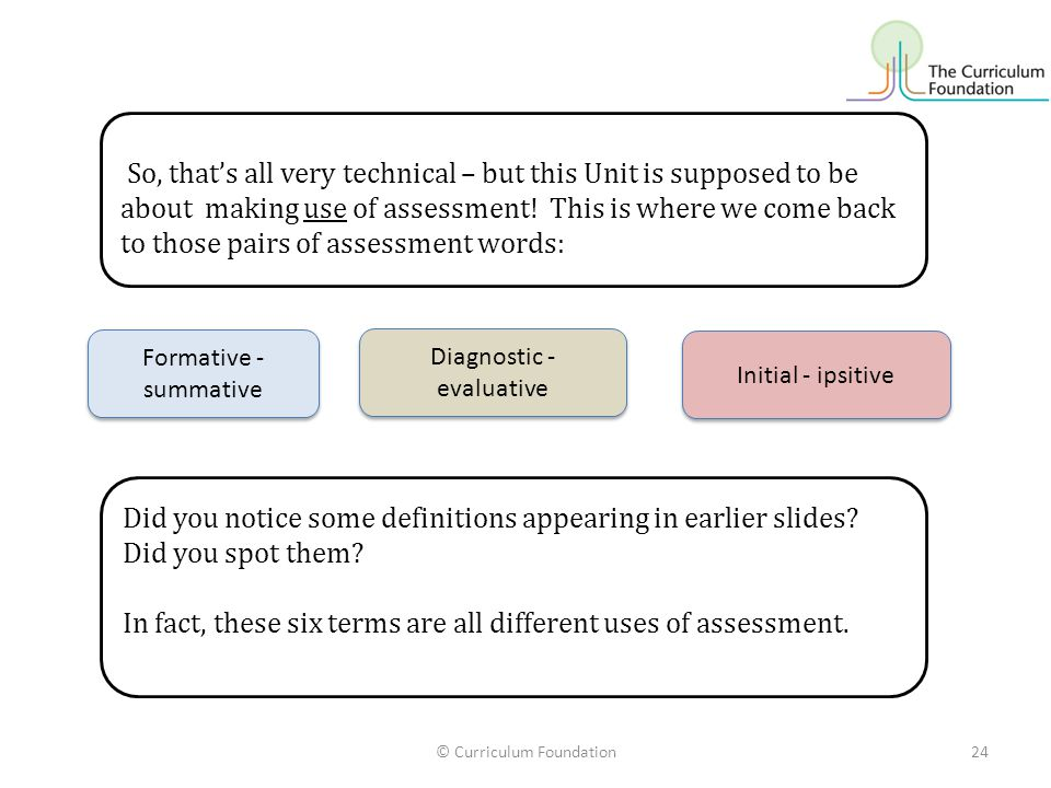 In fact, these six terms are all different uses of assessment.