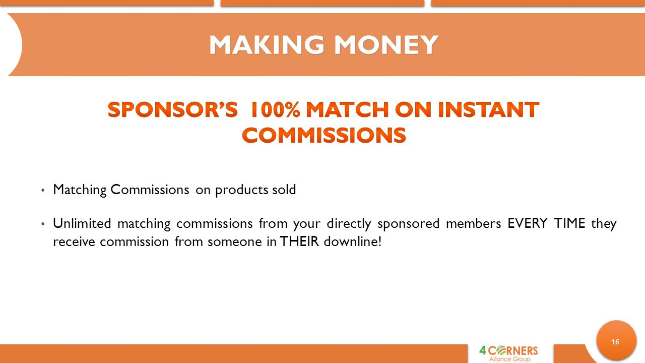 Sponsor's 100% Match on Instant Commissions