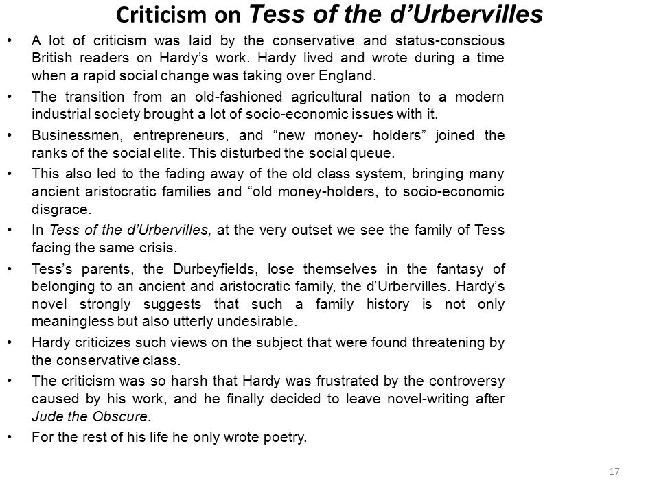 Criticism on Tess of the d'Urbervilles