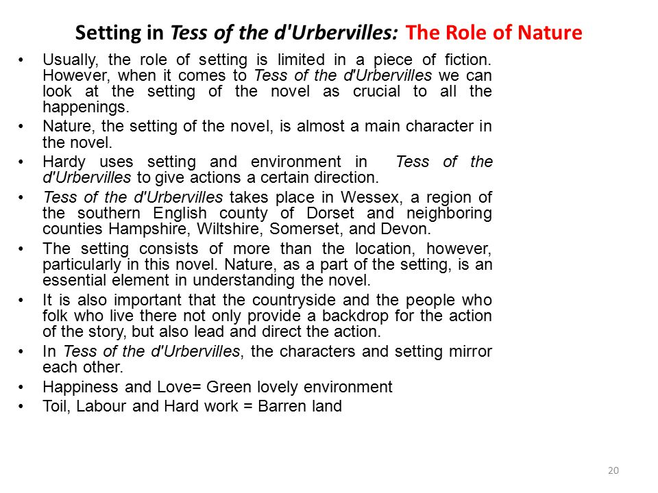 Setting in Tess of the d Urbervilles: The Role of Nature