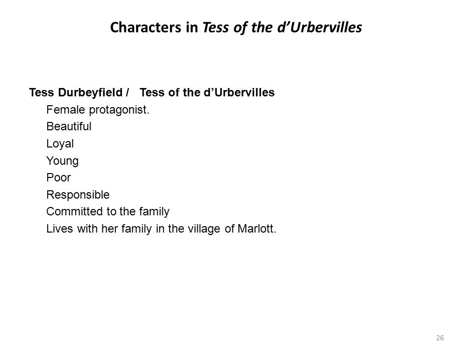 Characters in Tess of the d'Urbervilles
