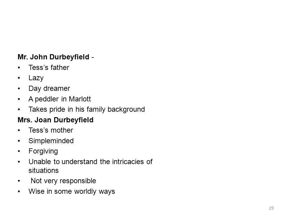 Mr. John Durbeyfield - Tess's father. Lazy. Day dreamer. A peddler in Marlott. Takes pride in his family background.