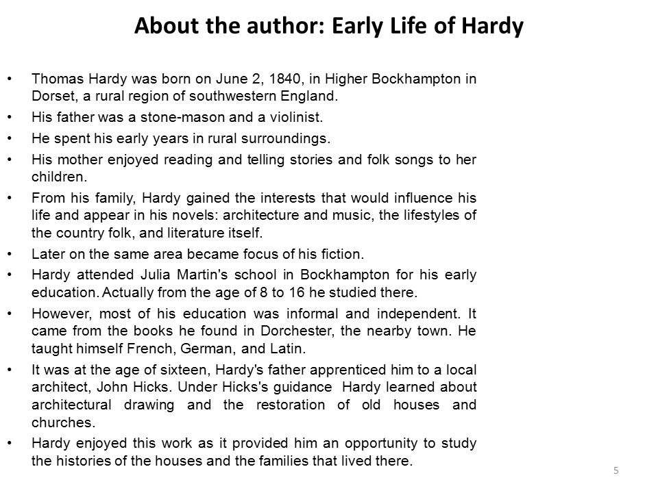 About the author: Early Life of Hardy