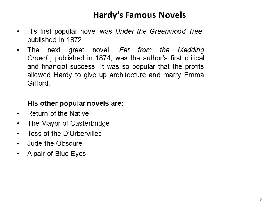 Hardy's Famous Novels His first popular novel was Under the Greenwood Tree, published in 1872.