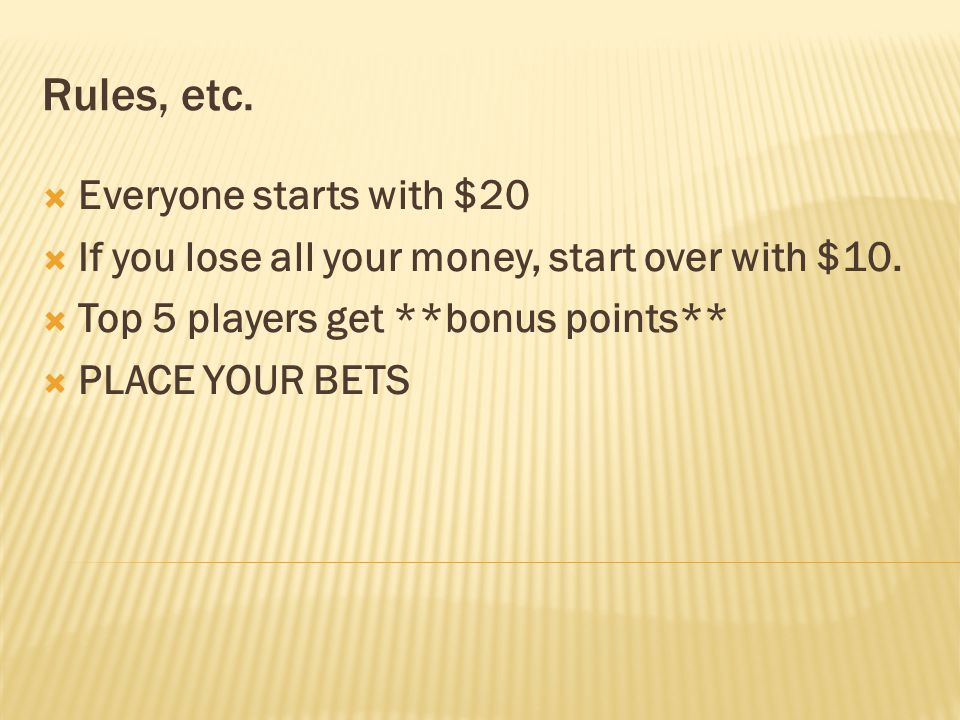 Rules, etc. Everyone starts with $20