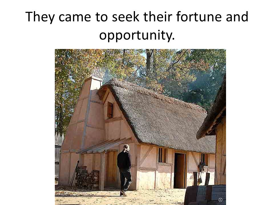 They came to seek their fortune and opportunity.