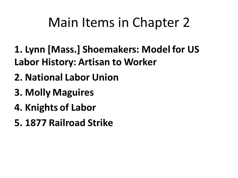 Main Items in Chapter 2