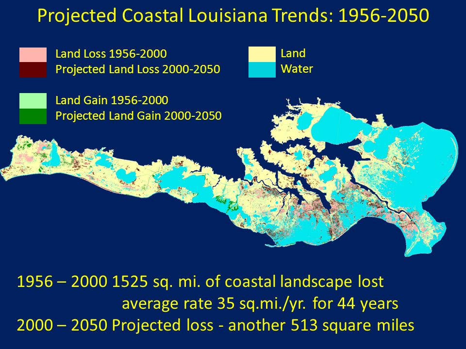Projected Coastal Louisiana Trends: 1956-2050