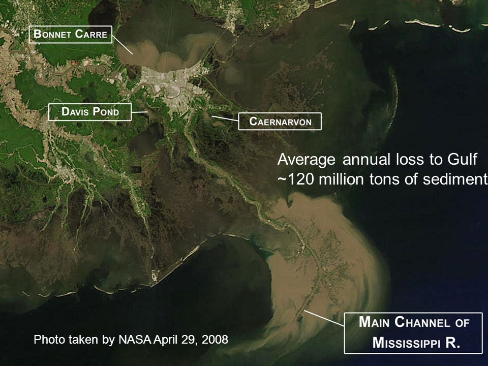 Average annual loss to Gulf ~120 million tons of sediment