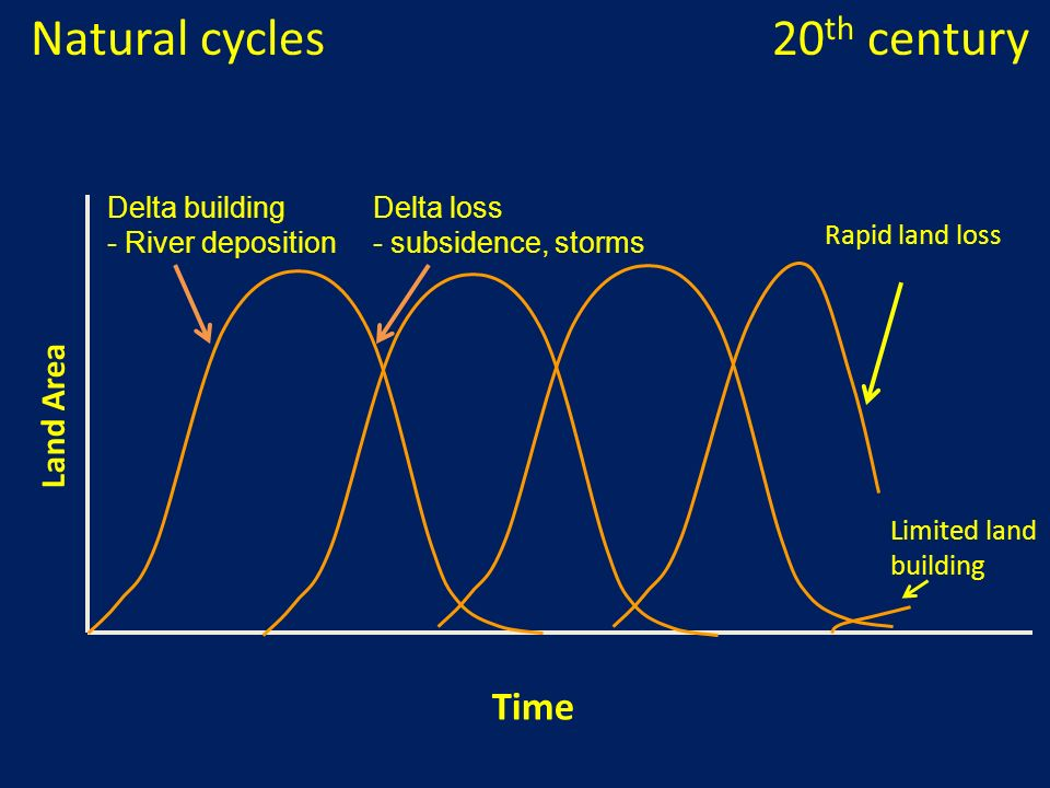 Natural cycles 20th century Time Land Area Delta building