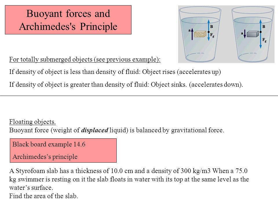 Buoyant forces and Archimedes s Principle
