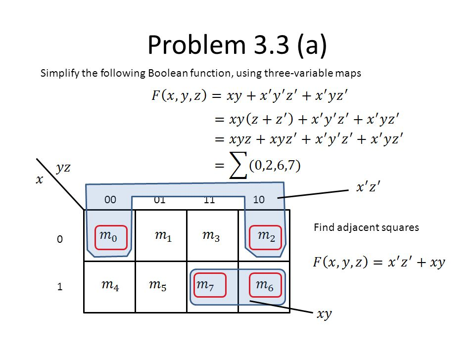 Problem 3.3 (a) Simplify the following Boolean function, using three-variable maps. 00. 01. 11. 10.