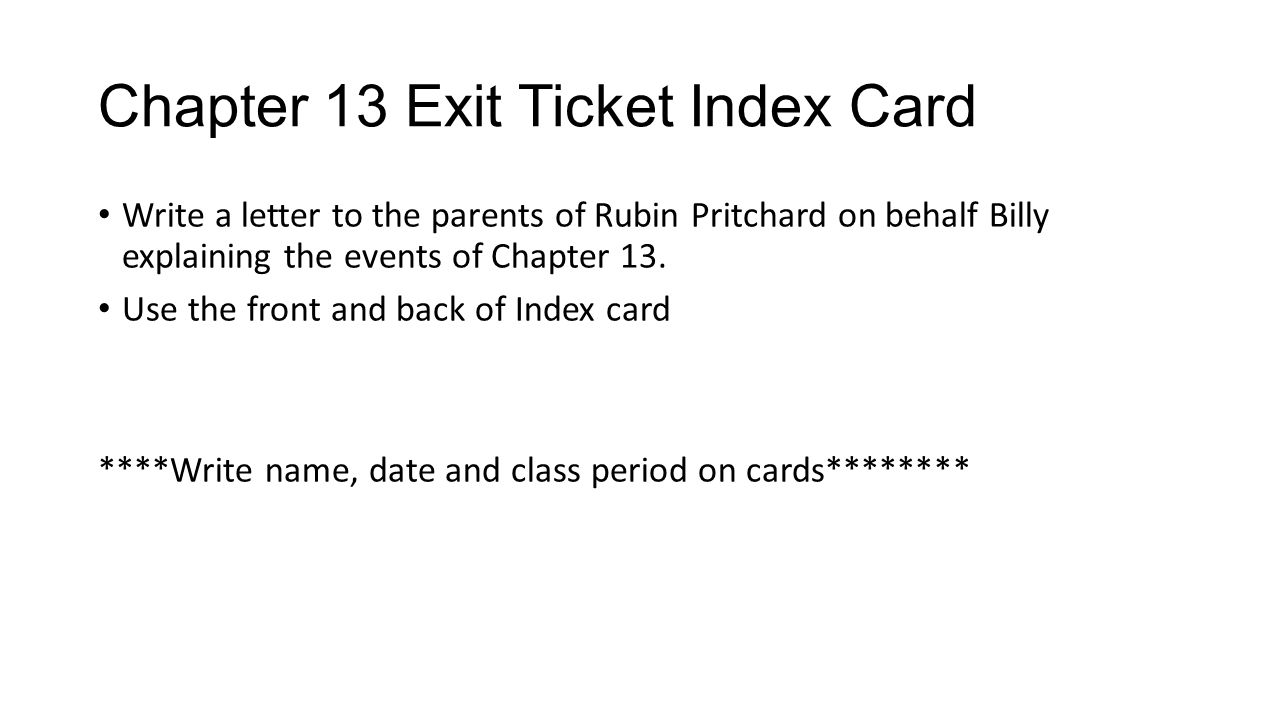 Chapter 13 Exit Ticket Index Card