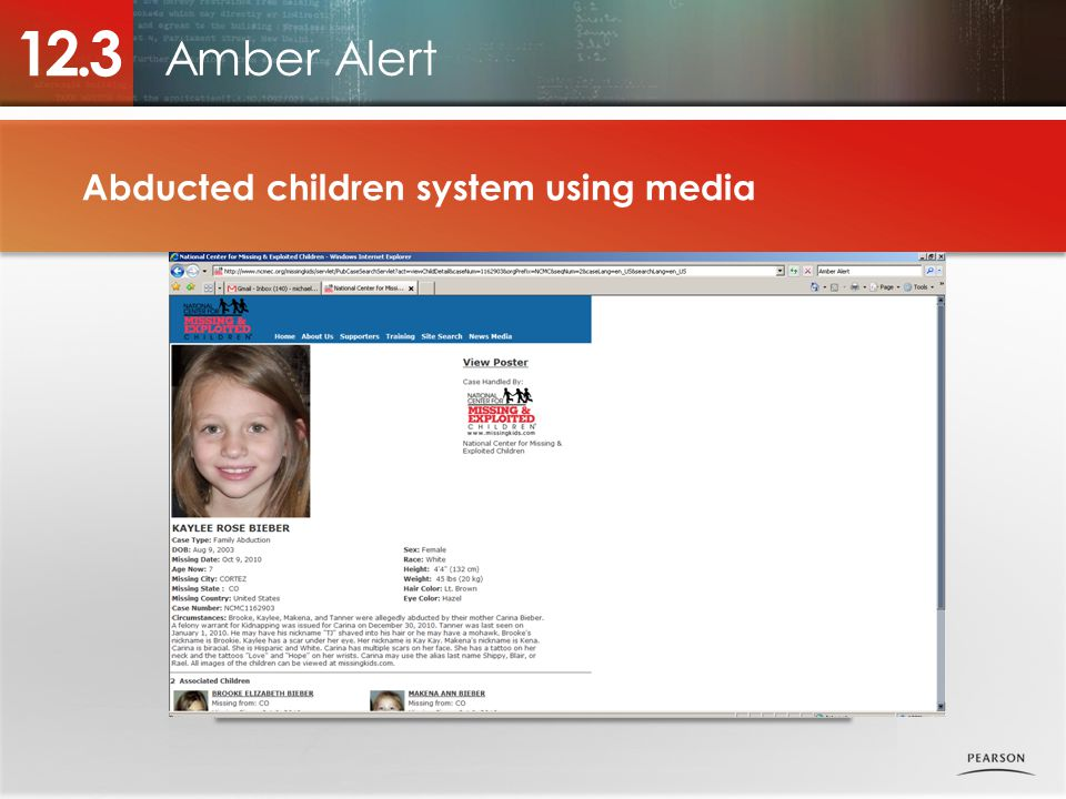 12.3 Amber Alert Abducted children system using media