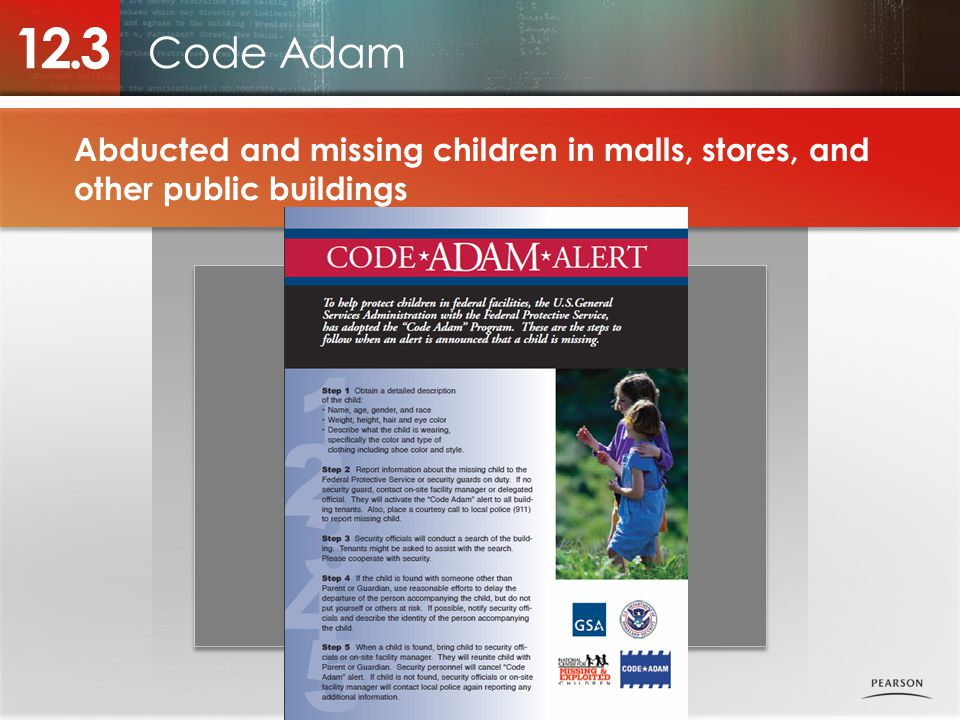 12.3 Code Adam. Abducted and missing children in malls, stores, and other public buildings. Photo placeholder.