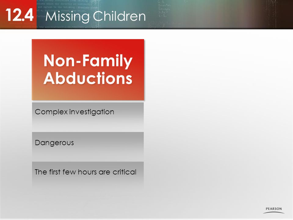 12.4 Non-Family Abductions Missing Children Complex investigation