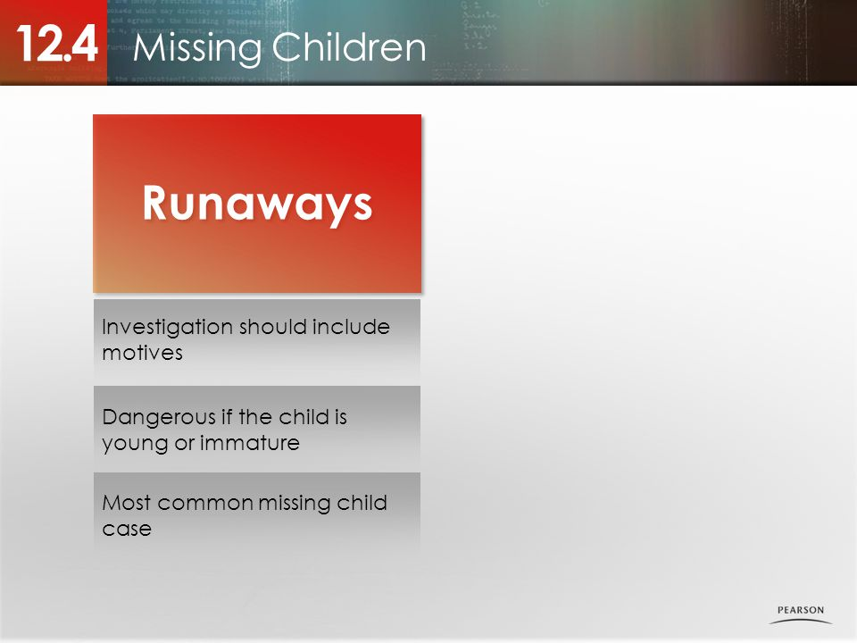 12.4 Runaways Missing Children Investigation should include motives