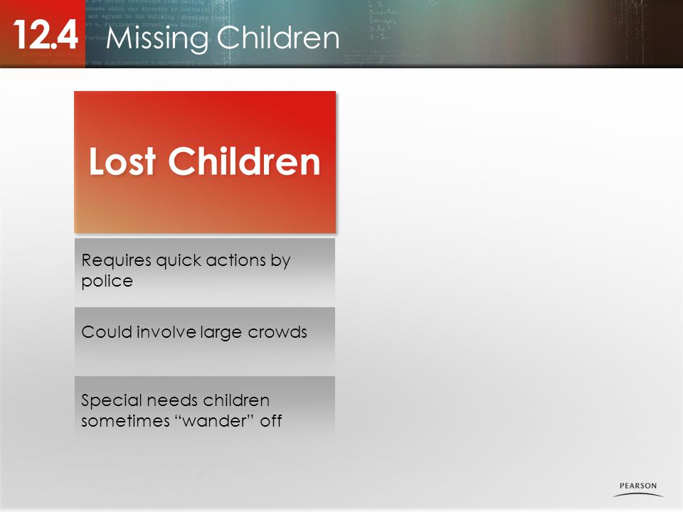 12.4 Lost Children Missing Children Requires quick actions by police