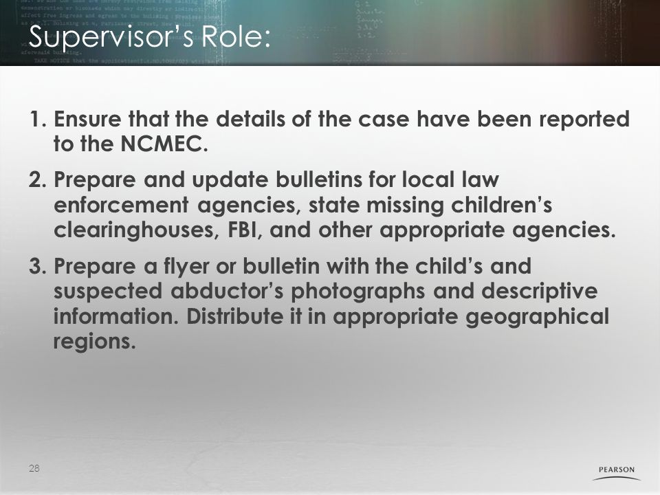Supervisor's Role: