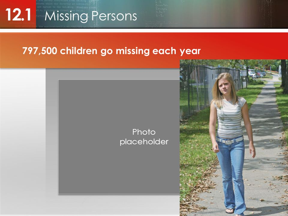 12.1 Missing Persons 797,500 children go missing each year