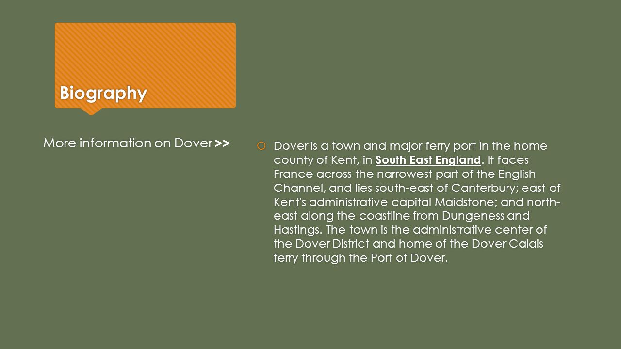 Biography More information on Dover >>