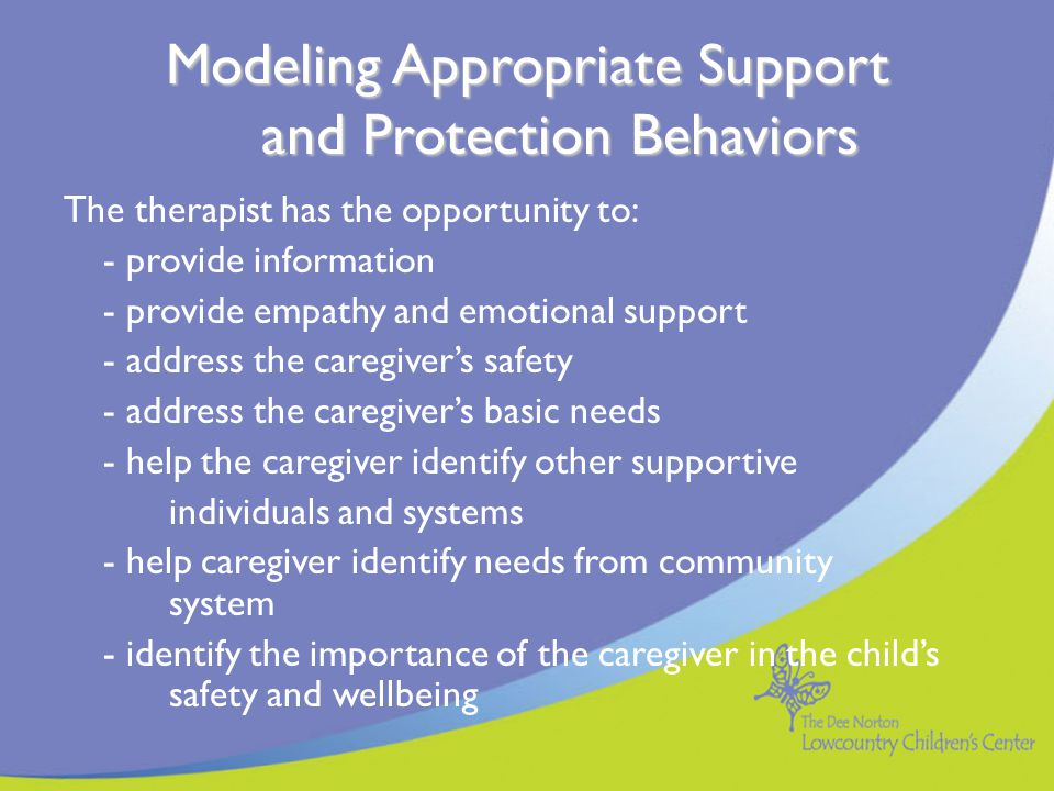 Modeling Appropriate Support and Protection Behaviors