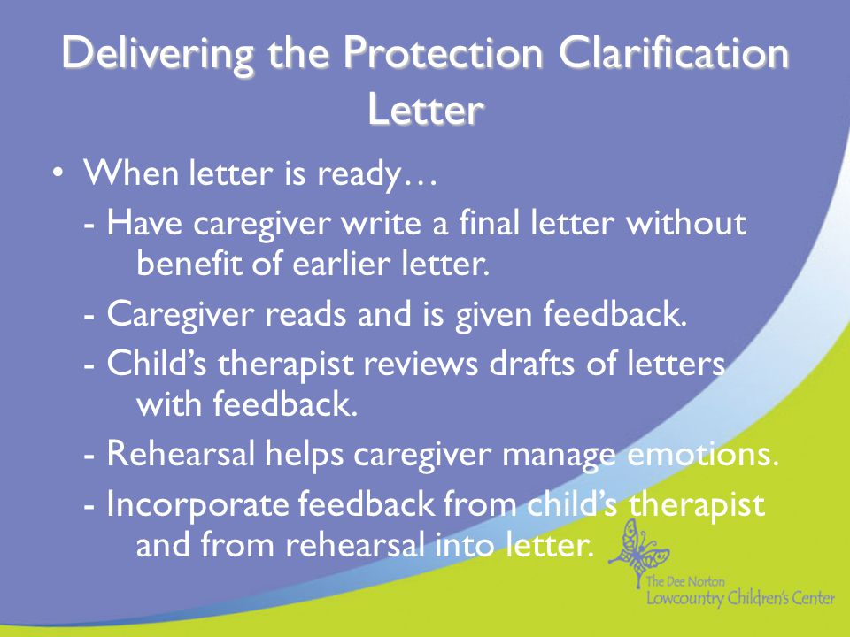 Delivering the Protection Clarification Letter
