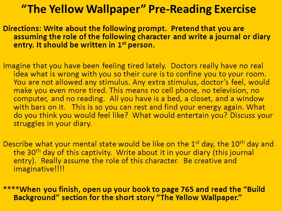 the yellow paper essay The paper itself, though not i wrote a feminist analysis on the yellow wallpaper for my college english comp ii class, and it was honestly rather similar to this.