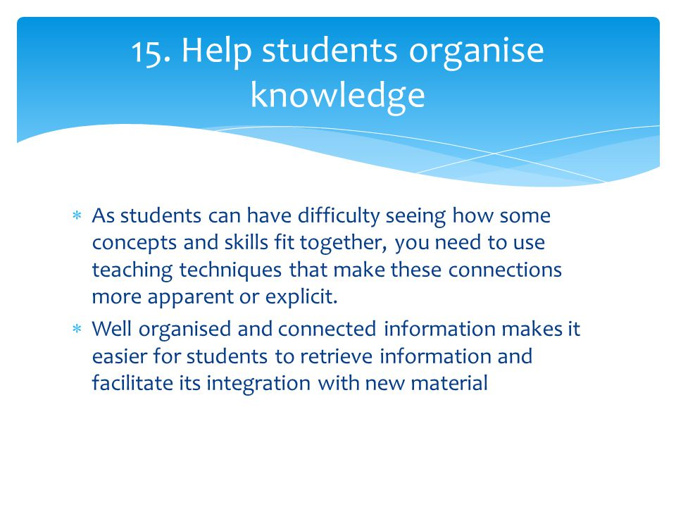 15. Help students organise knowledge