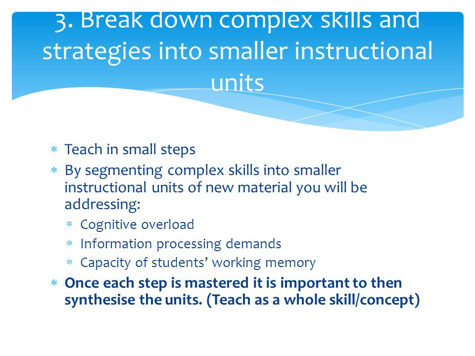 3. Break down complex skills and strategies into smaller instructional units