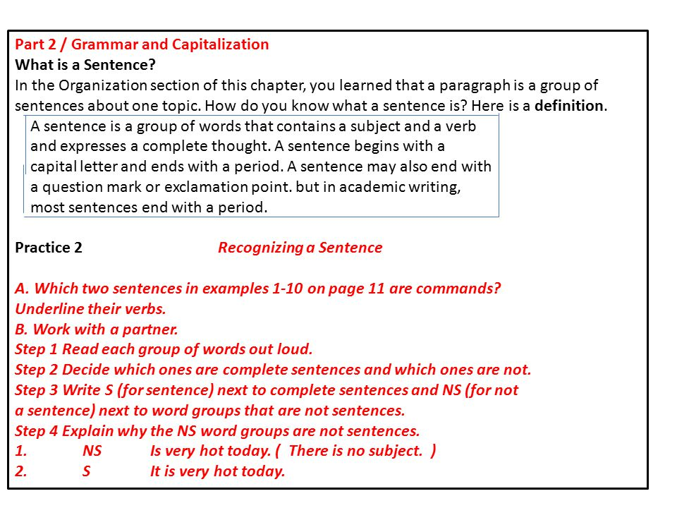 Part 2 / Grammar and Capitalization