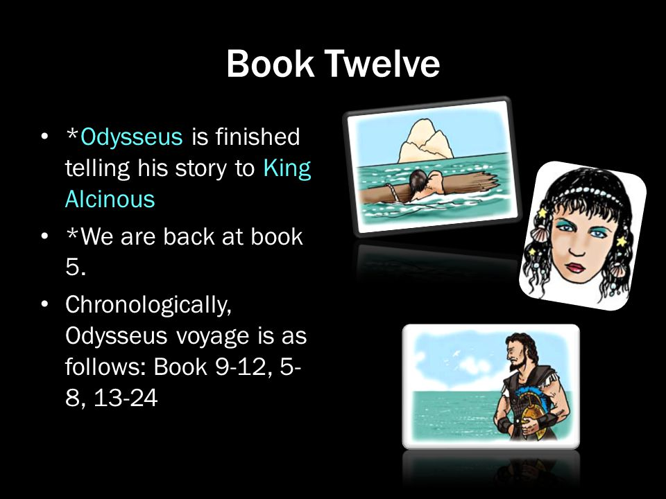 Book Twelve *Odysseus is finished telling his story to King Alcinous