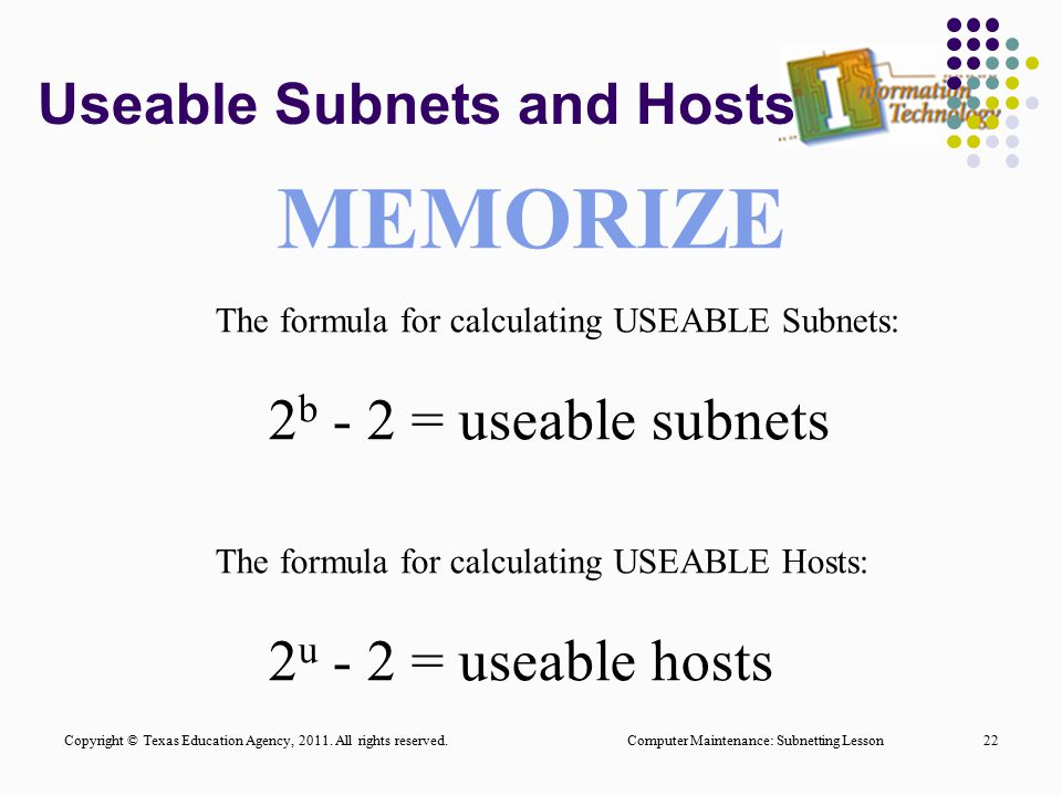 Useable Subnets and Hosts