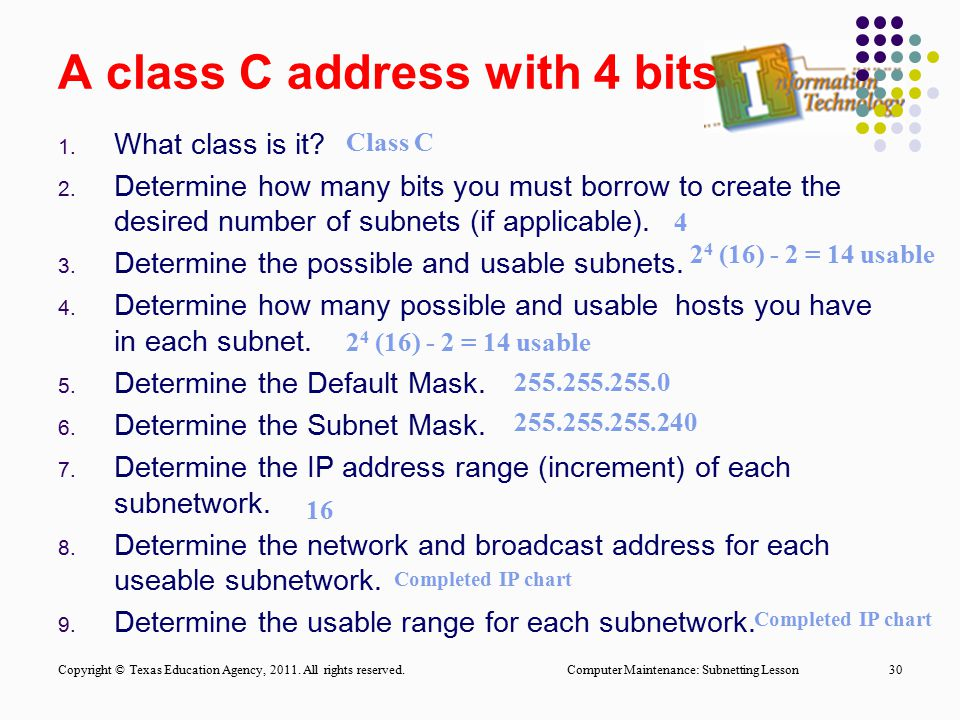 A class C address with 4 bits