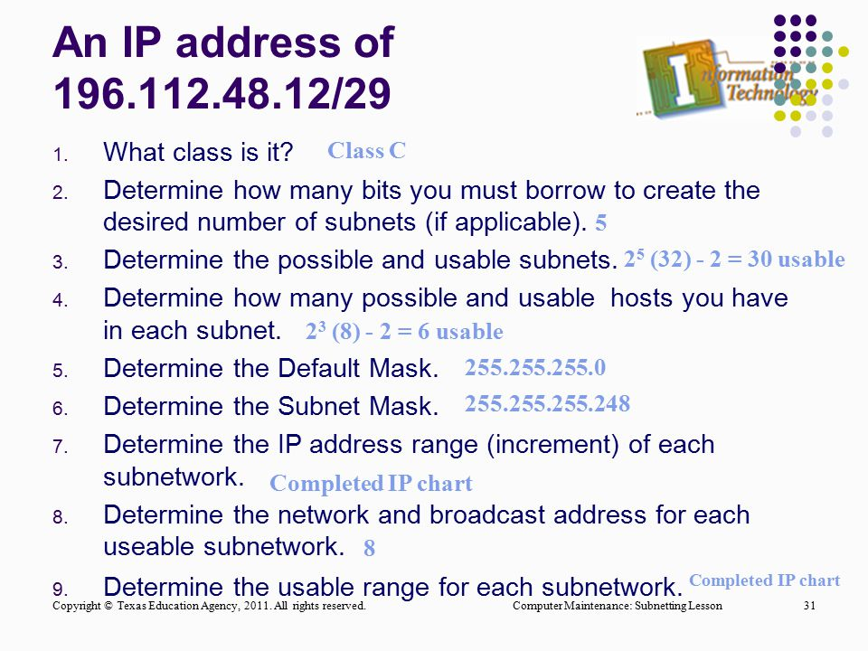 An IP address of 196.112.48.12/29 What class is it