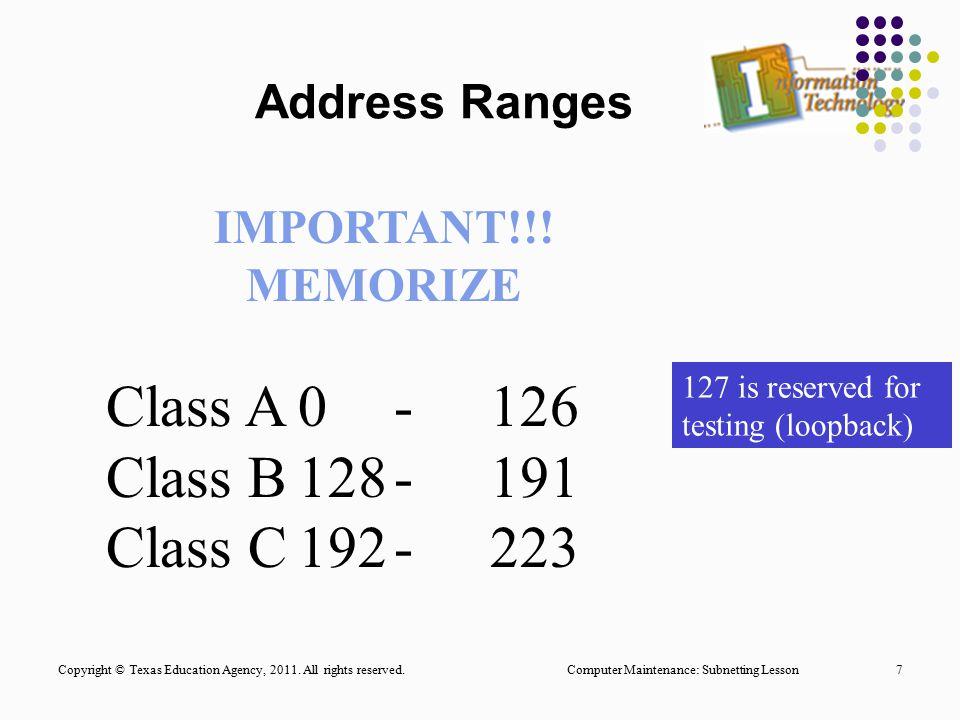 Class A 0 - 126 Class B 128 - 191 Class C 192 - 223 Address Ranges