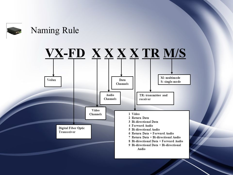 Naming Rule VX-FD X X X X TR M/S M: multimode S: single-mode Veilux