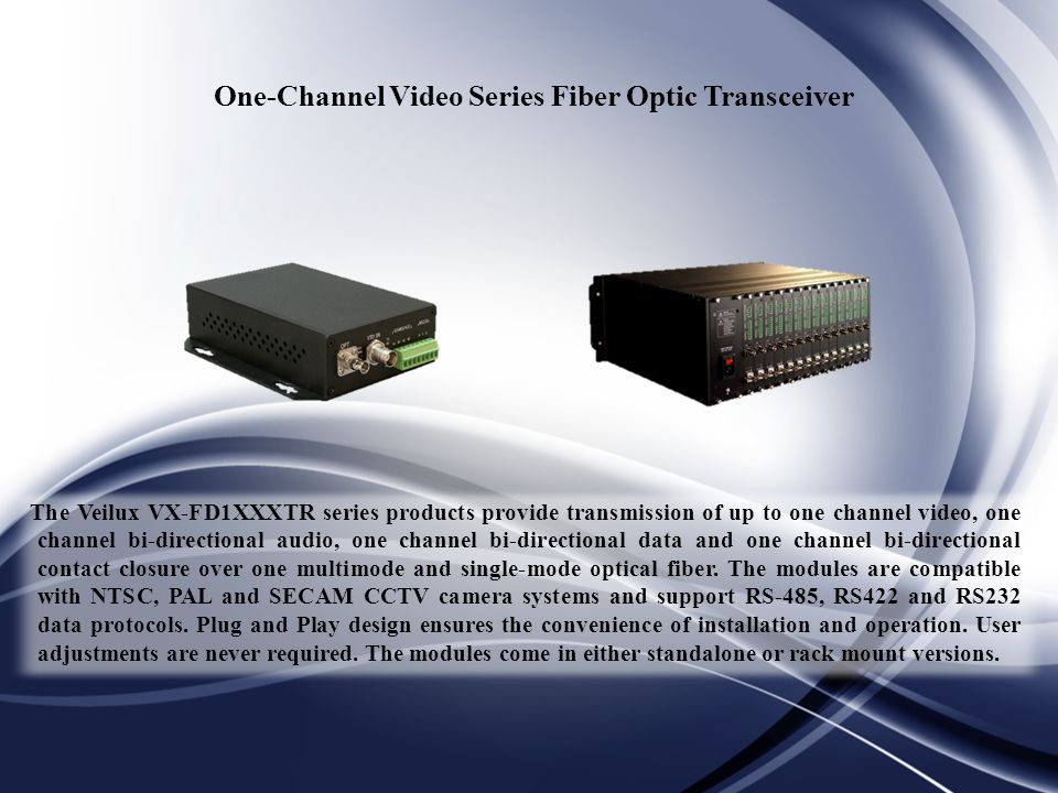 One-Channel Video Series Fiber Optic Transceiver