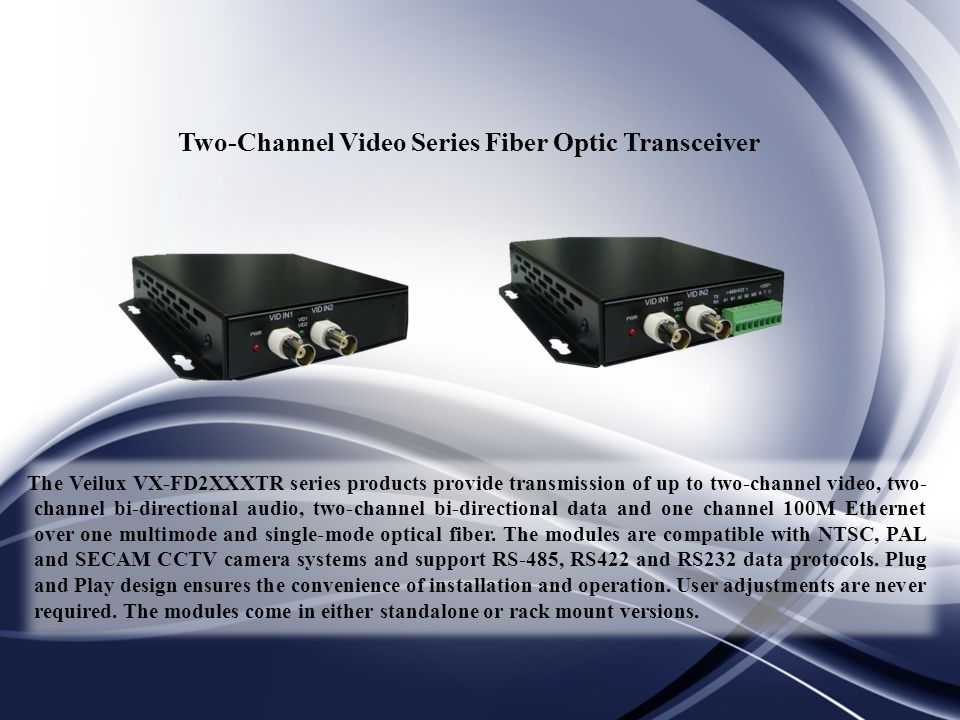 Two-Channel Video Series Fiber Optic Transceiver