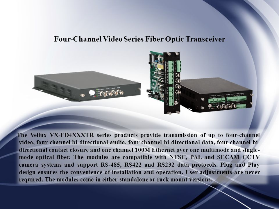 Four-Channel Video Series Fiber Optic Transceiver