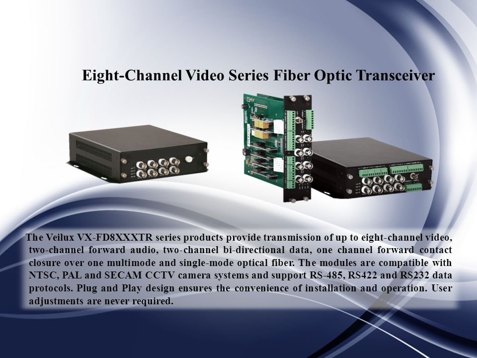 Eight-Channel Video Series Fiber Optic Transceiver