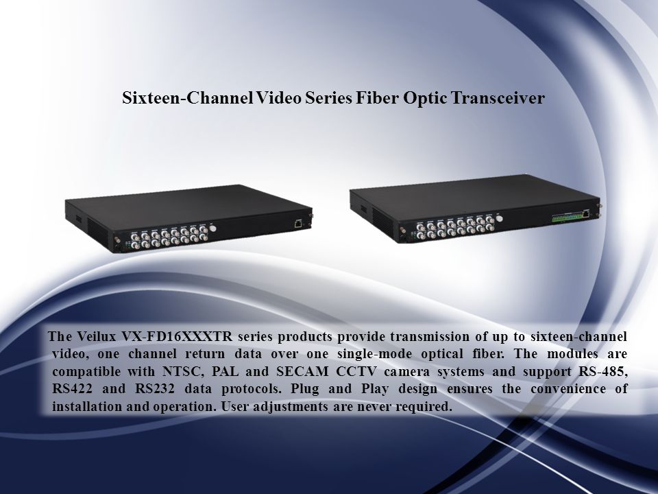 Sixteen-Channel Video Series Fiber Optic Transceiver