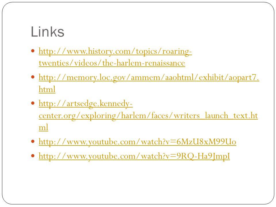 Links http://www.history.com/topics/roaring- twenties/videos/the-harlem-renaissance. http://memory.loc.gov/ammem/aaohtml/exhibit/aopart7. html.