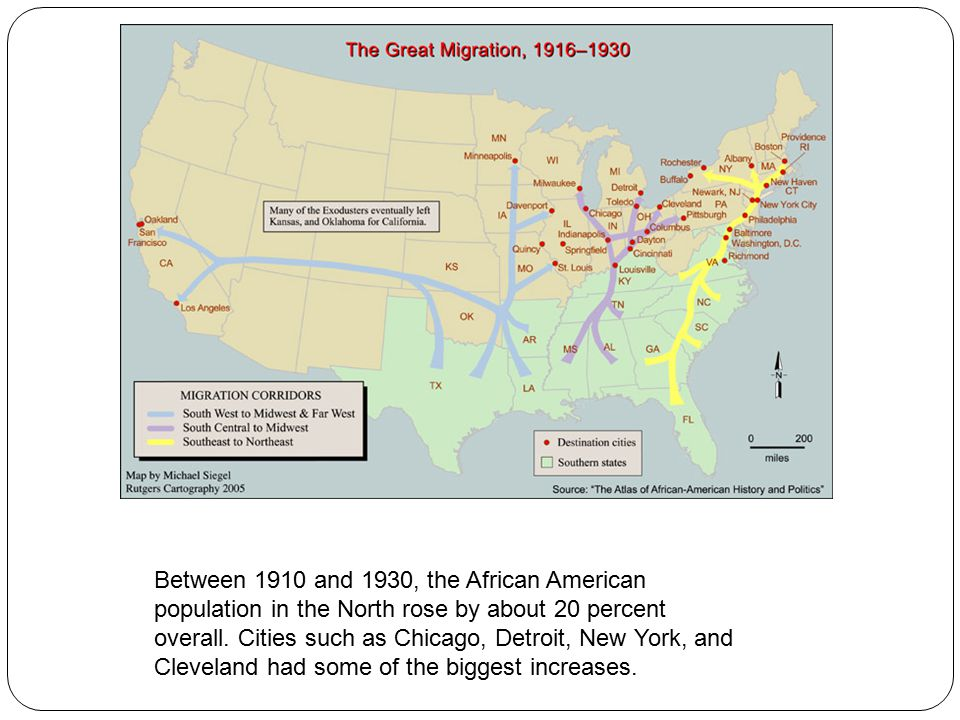 Between 1910 and 1930, the African American population in the North rose by about 20 percent overall.