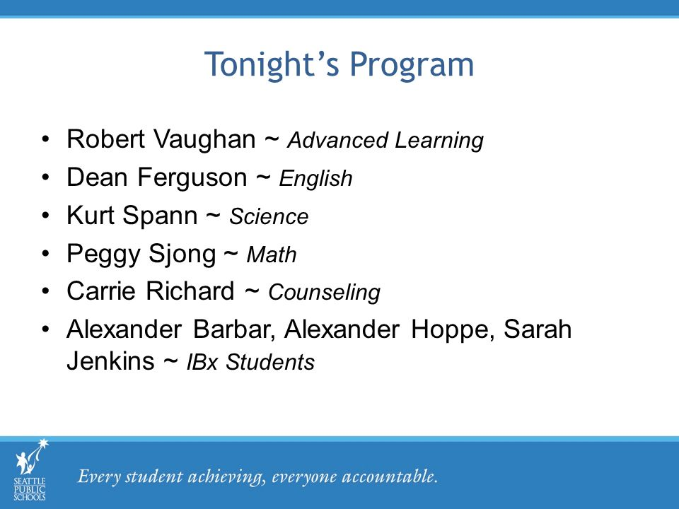 Tonight's Program Robert Vaughan ~ Advanced Learning